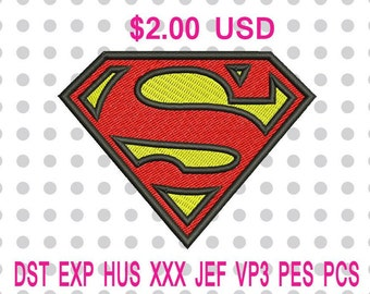 Superman Logo Machine Embroidery Design 5 Sizes-INSTANT DOWNLOAD