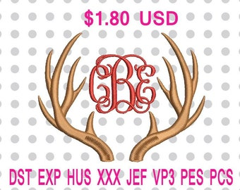 Deer Antlers Machine Embroidery Design 6 Sizes-INSTANT DOWNLOAD
