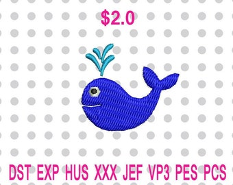 Mini Baby Whale Machine Embroidery Design 3 Sizes-INSTANT DOWNLOAD