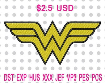 Wonder Woman Logo Machine Embroidery Design 3 Sizes-INSTANT DOWNLOAD