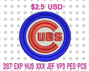 Chicago Cubs Primary Logo Machine Embroidery Design 5 Sizes-INSTANT DOWNLOAD
