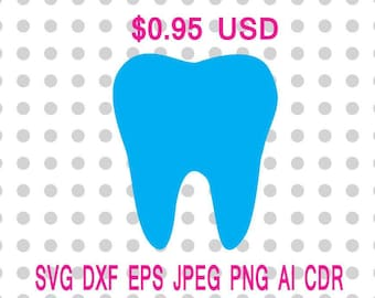 Tooth Svg Dxf Eps Png Jpg Cdr Ai Cut Vector File Silhouette Cameo Cricut Design Vinyl Decal