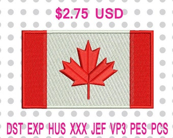 Canada Flag Machine Embroidery Design 3 Sizes-INSTANT DOWNLOAD