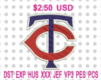 Minnesota Twins Logo Machine Embroidery Design 5 Sizes-INSTANT DOWNLOAD