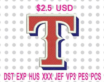 Texas Rangers Logo Machine Embroidery Design 4 Sizes-INSTANT DOWNLOAD