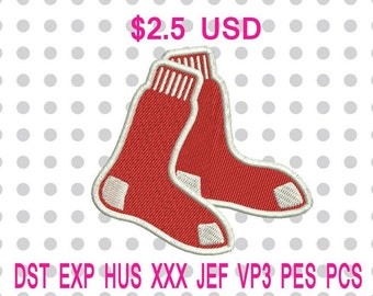 Boston Red Sox Primary Logo Machine Embroidery Designs 6 Sizes-INSTANT DOWNLOAD