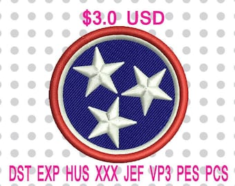 Tennessee Tristar Machine Embroidery Design 5 Sizes-INSTANT DOWNLOAD