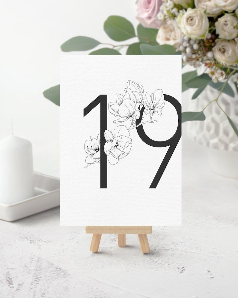 Magnolia Wedding Printable Table Numbers. Spring Wedding DIY image 0