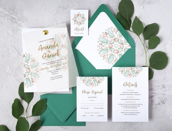 Watercolor Wedding Invitation Template Modern Calligraphy And Faux Gold Suite Peach Mint Green Mandala Invite LM19