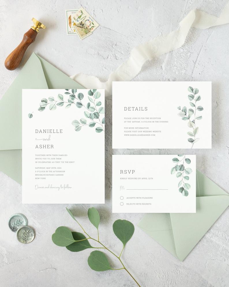 Eucalyptus Wedding Invitation Suite. Watercolor Greenery image 0