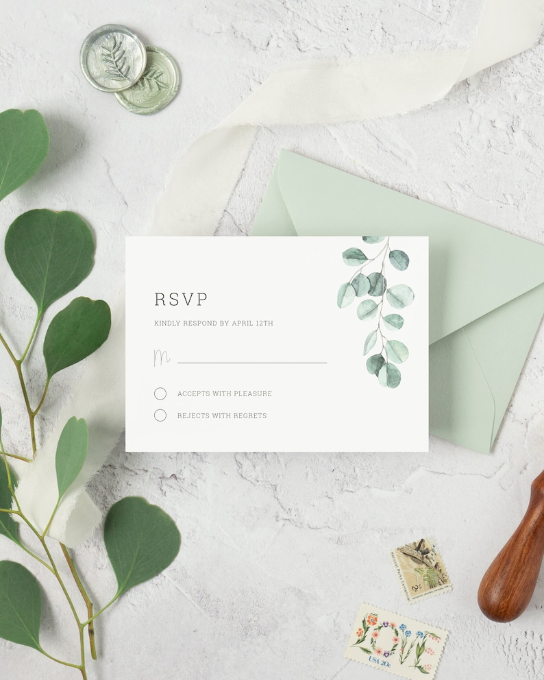 Eucalyptus Wedding RSVP Card Template. Printable Greenery image 0