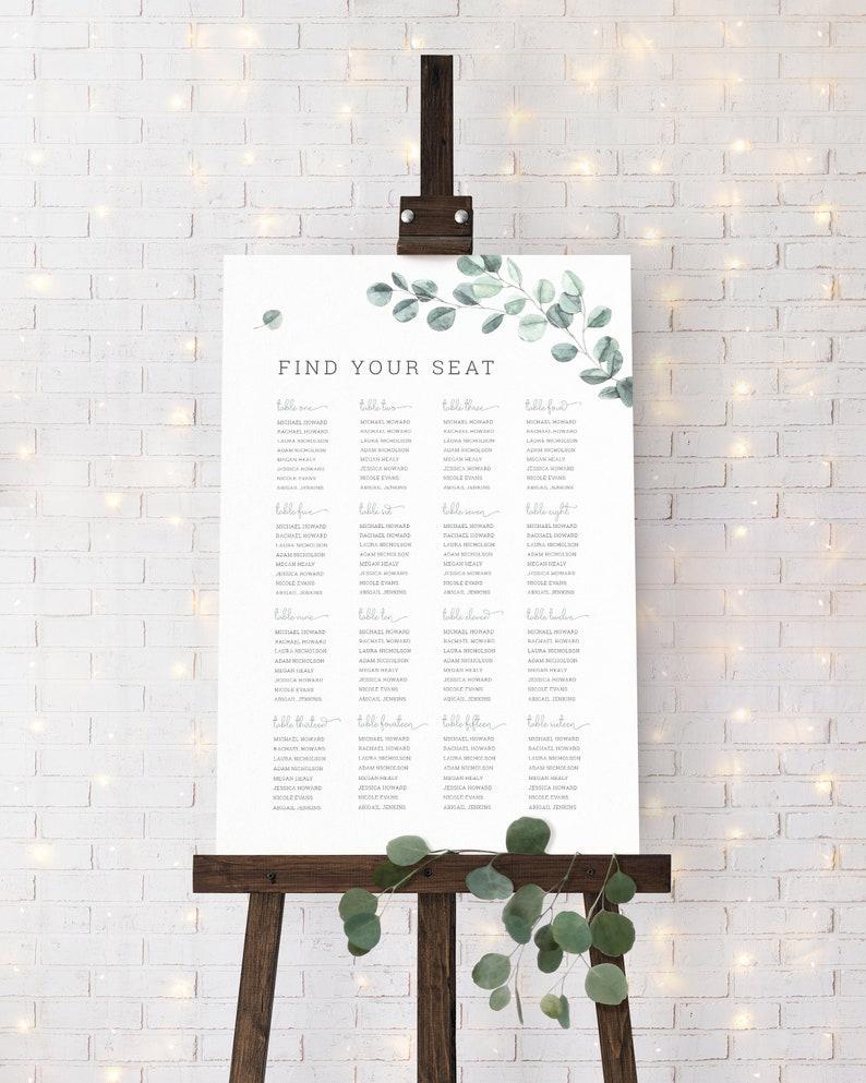 EL19 Watercolor Greenery Wedding Seating Plan Template Sage Green Garden Wedding Seating Chart Eucalyptus Wedding Seating Chart Template