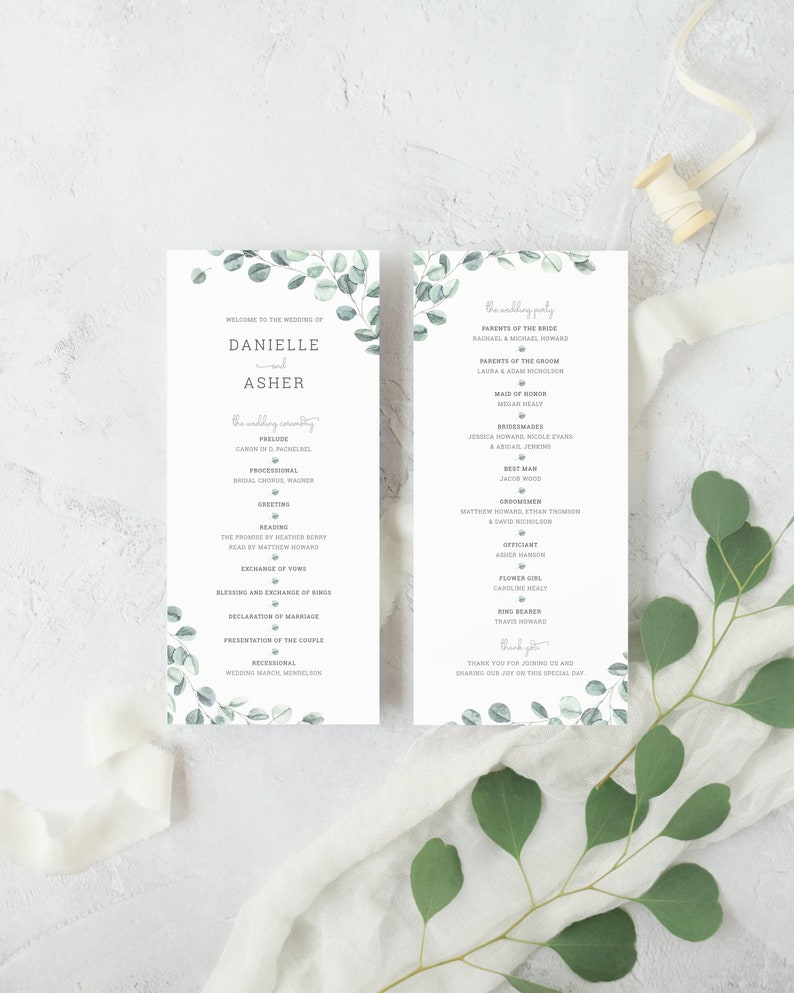 Eucalyptus Wedding Ceremony Program Template. Watercolor image 0