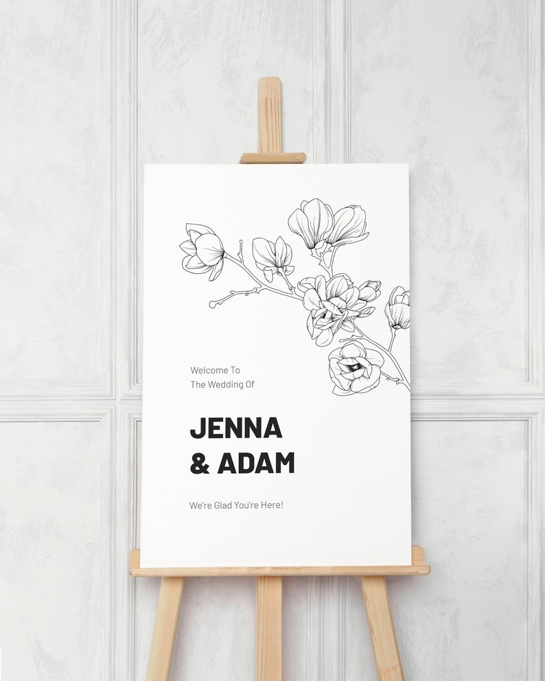 Magnolia Wedding Welcome Sign Template. Black and White Modern image 0