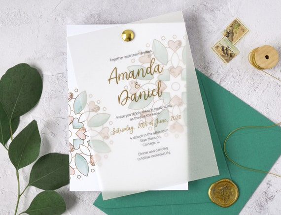 Modern Calligraphy Wedding Invitation Template Watercolor And Faux Gold Invite Mint Green Peach Printable LM19