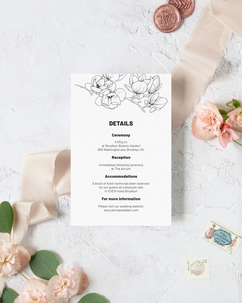 Magnolia Wedding Details Card Template. Black and White Floral image 0