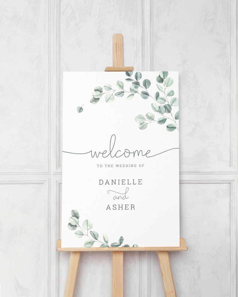 Eucalyptus Wedding Welcome Sign Template. Printable Greenery image 0