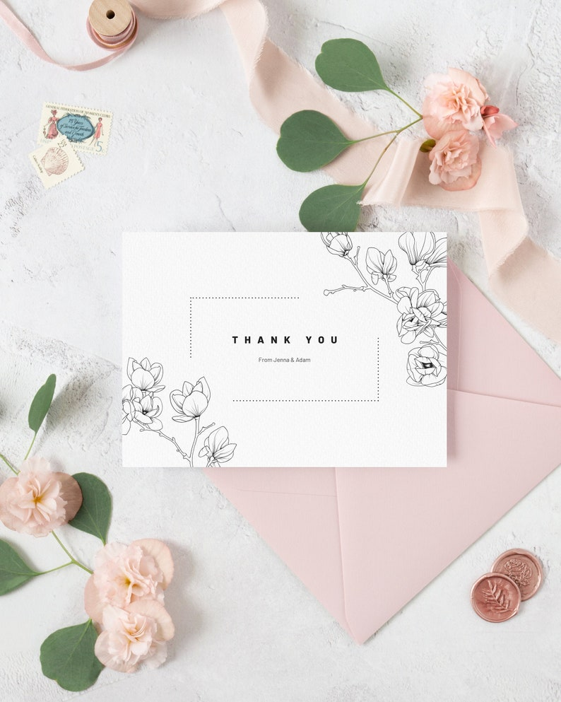 Magnolia Wedding Thank You Card Template. Modern Floral image 0