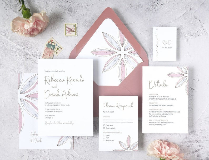 Blush and Gold Wedding Invitation Template. Modern Calligraphy image 0