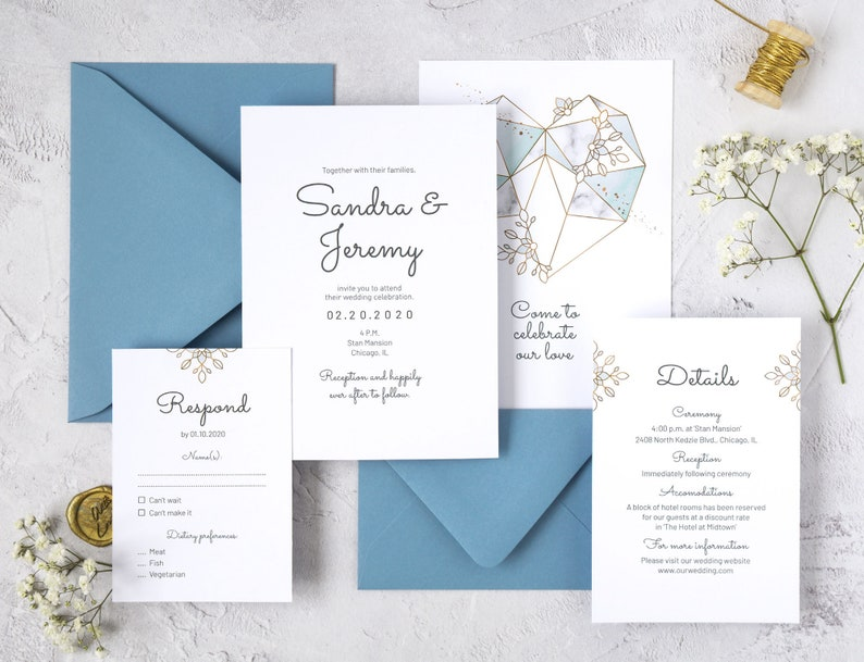Geometric Heart Wedding Invitation Template. Light Blue image 0