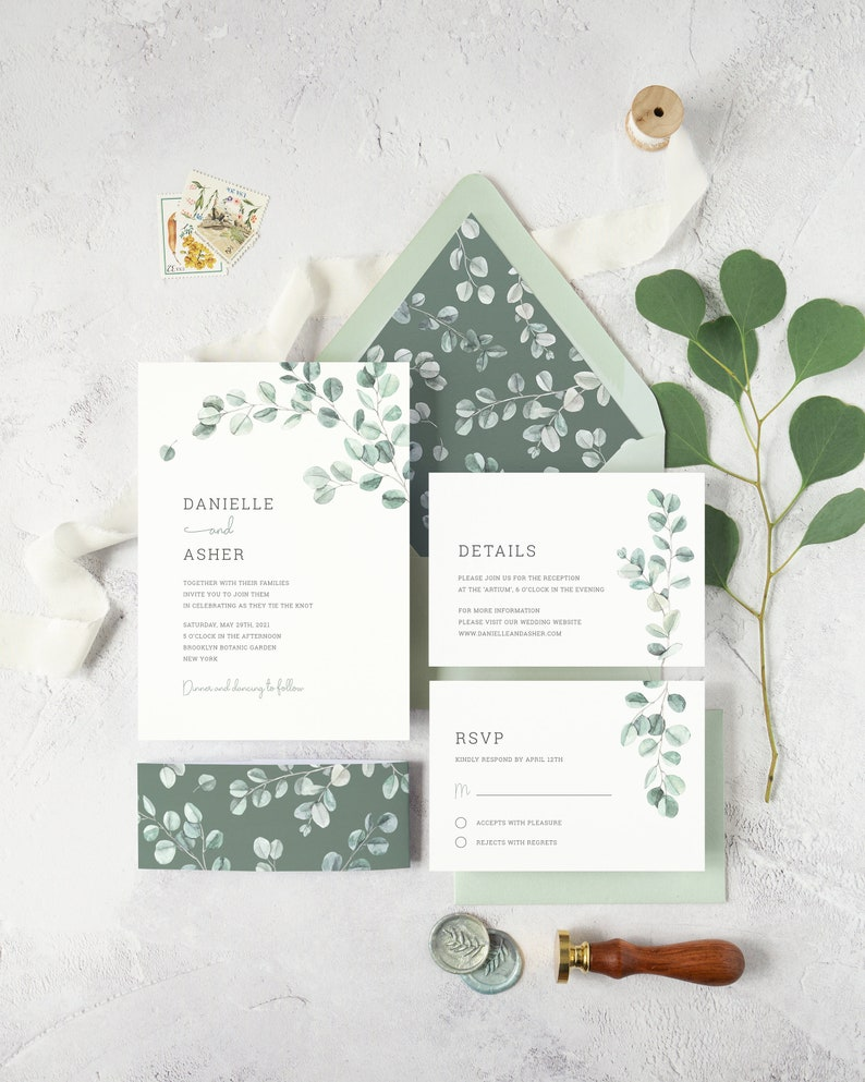Eucalyptus Wedding Invitation Suite. DIY Watercolor Greenery image 0