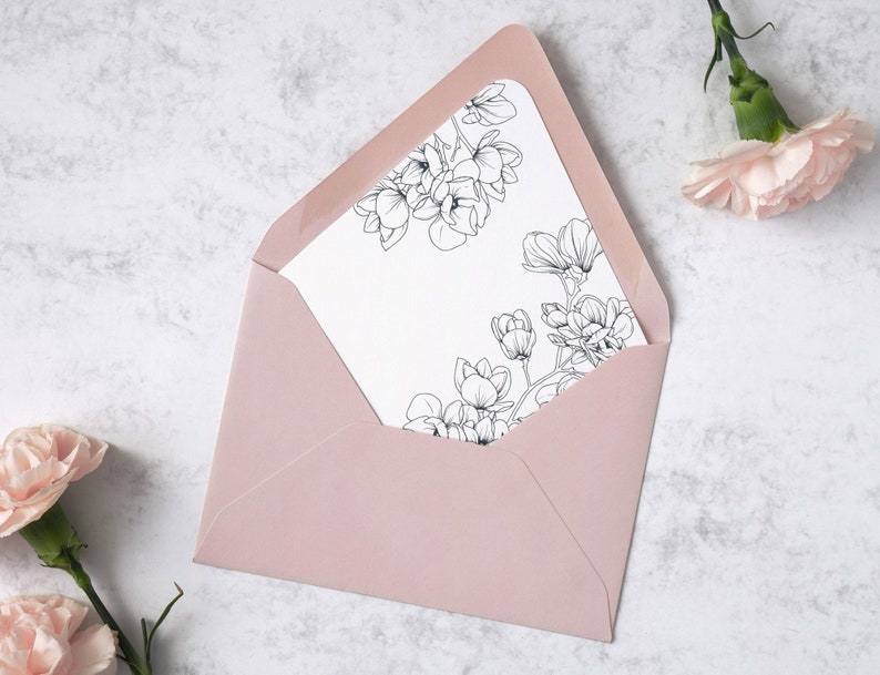 Floral Wedding Envelope Liner Template. A7 Black and White image 0