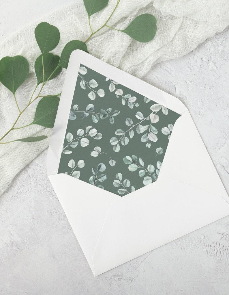 Eucalyptus Wedding Envelope Liner Template. A7 Watercolor image 0