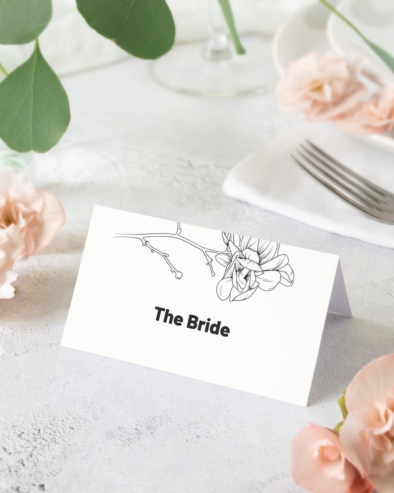 Magnolia Wedding Place Card Template. Black and White Floral image 0