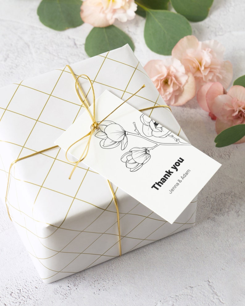 Magnolia Wedding Favor Tag Template. Black and White Floral image 0