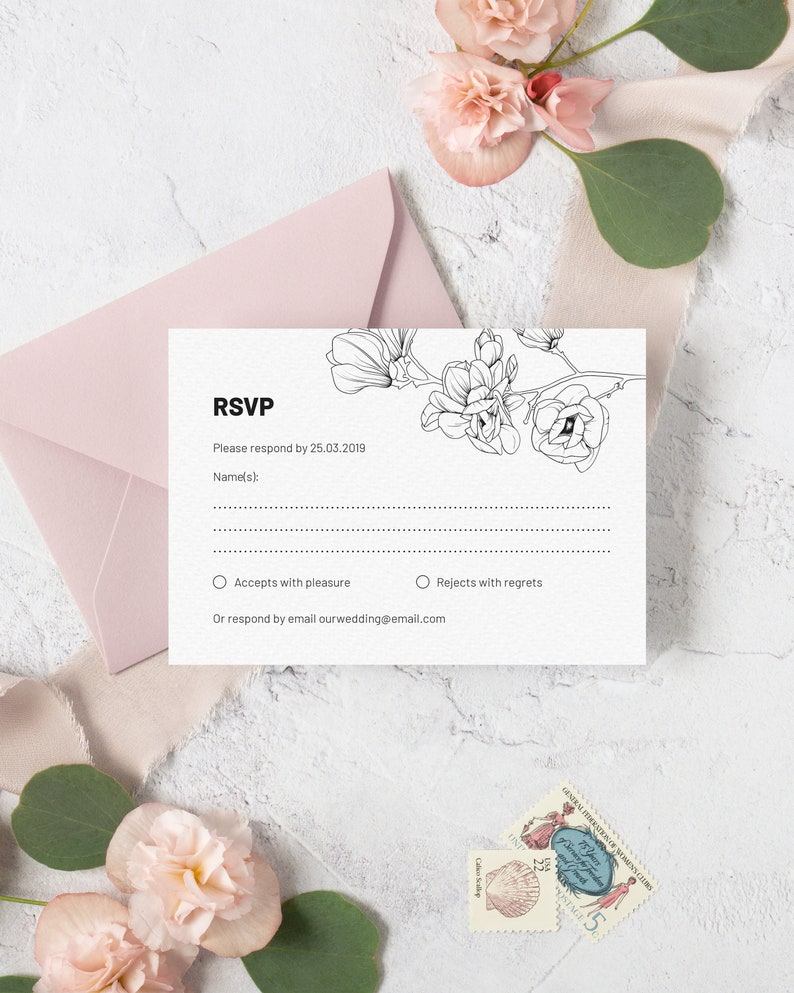 Magnolia Wedding RSVP Card Template. Modern Black and White image 0