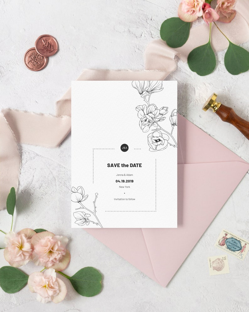 Magnolia Wedding Save the Date Template. Black and White image 0