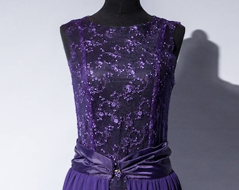 purple lilac evening lace gown, chiffon skirt