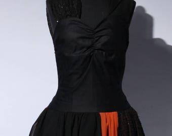 black orange fabric mix dress