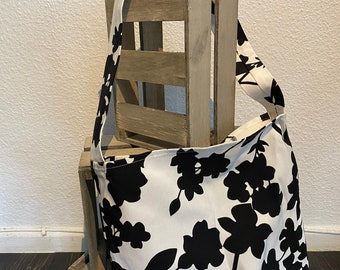 Fabric bag with modern black white leaves print - handmade