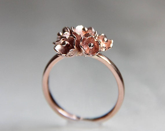 Romantic rose gold engagement ring, Flower proposal ring, Lily of the valley jewelry, Promise delicate 14K ring, Girlfriend ring gift idea