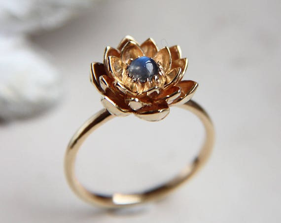 Unique gold lotus engagement ring, 14K gold ring, Blue moonstone ring, Proposal or promise ring, Floral engagement jewelry, Delicate ring