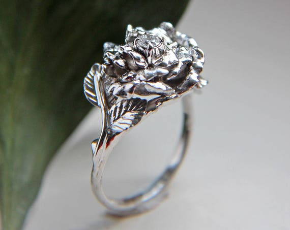 Big white gold proposal ring with rose flower and diamond, unique engagement ring, anniversary gift for wive, romantic handcrafted ring