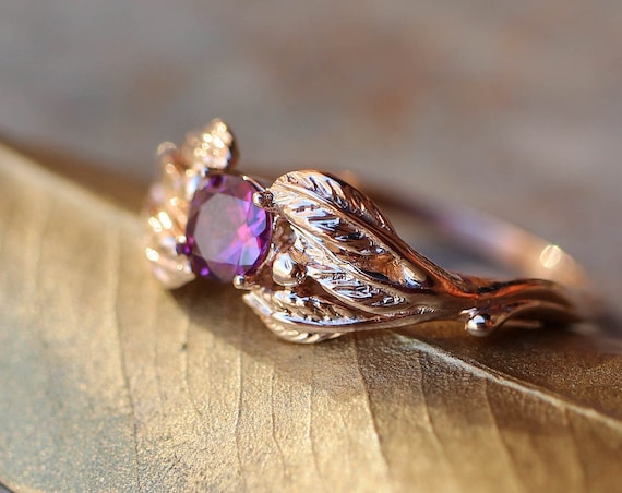 Rhodolite garnet engagement ring, rose gold ring, leaf and twig ring, unique engagement ring, nature ring, ring for women, anniversary gift