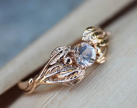 Rose gold morganite ring, leaf engagement ring, leaves and branch ring for her, nature inspired wedding ring, delicate ring for women