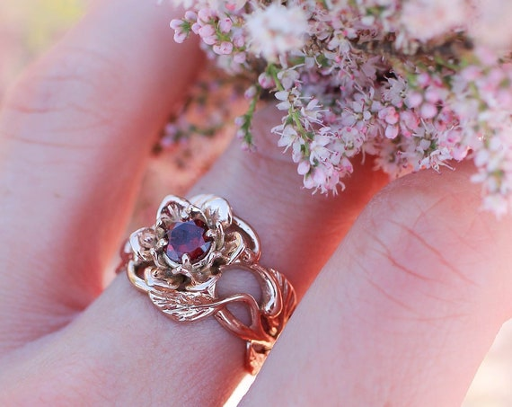 Rose gold flower engagement ring, unique ring for woman, garnet engagement ring, art nouveau ring, floral jewelry, jewelry gift, lotus ring