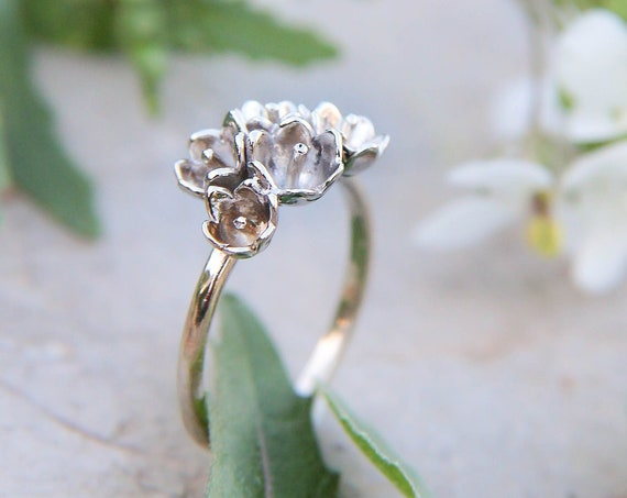 White gold engagement ring, flower proposal ring, lily of the valley jewelry, gold ring for woman, gift for girlfriend, white gold flower