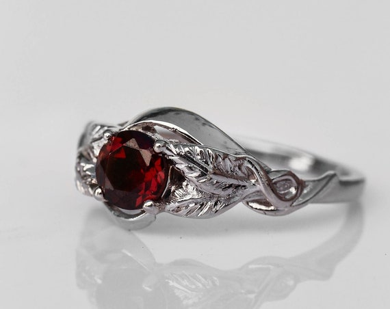 White gold garnet engagement ring, unique nature ring, leaves engagement ring, anniversary gift, botanical jewelry, January birthstone