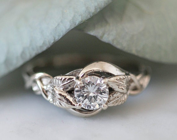 White gold diamond engagement ring, natural round diamond ring, leaves ring, leaf ring for woman, unique proposal ring, genuine diamond