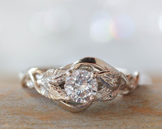 Colorless moissanite engagement ring, white gold moissanite ring, leaves ring, leaf ring for woman, unique proposal ring, manmade diamond