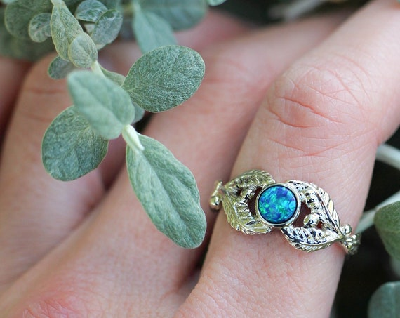 Blue opal engagement ring, white gold ring for women, leaves proposal ring, gold branch wedding ring, leaf ring, genuine fire opal ring