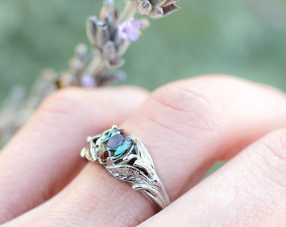 Alexandrite engagement ring, white gold leaves ring, leaf and branch ring for woman, unique engagement ring, lab alexandrite, nature ring