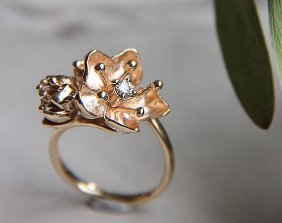 Handcrafted gold flower and diamond engagement ring, unique and delicate floral promise ring, anniversary gift for wive or nature lover