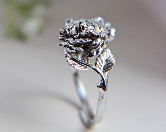 Rose flower ring, unique diamond ring, white gold ring, engagement ring, flower engagement ring, proposal ring, romantic ring,nature jewelry