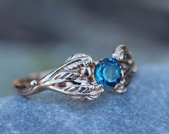 London blue topaz ring, rose gold topaz ring, leaf and twig ring, unique engagement ring, nature ring, ring for women, anniversary gift