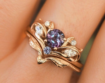 Alexandrite bridal ring set, nature engagement ring, alexandrite ring, ring with diamonds, nature wedding band, leaves ring, gift for her